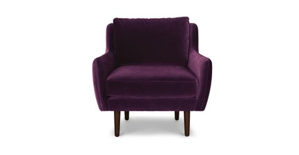 Matrix Modern Contemporary Velvet Chair Italian Plum