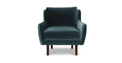 Matrix Modern Contemporary Velvet Chair Pacific Blue