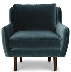 Article Matrix Modern Contemporary Velvet Chair Pacific Blue