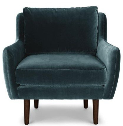 Article Matrix Modern Contemporary Velvet Chair Pacific Blue