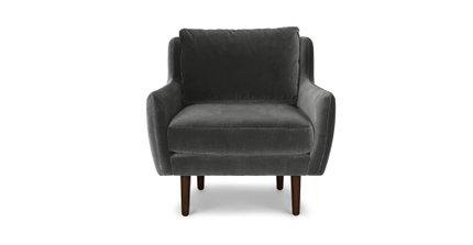 Matrix Modern Contemporary Velvet Chair Shadow Gray