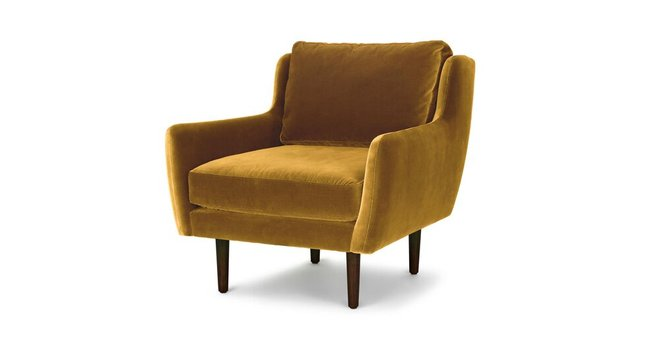 Matrix Modern Contemporary Velvet Chair Yarrow Gold