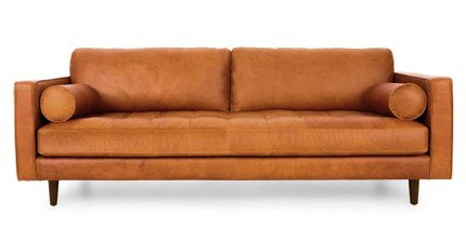Sven Mid-Century Modern Tufted Leather Sofa Tan