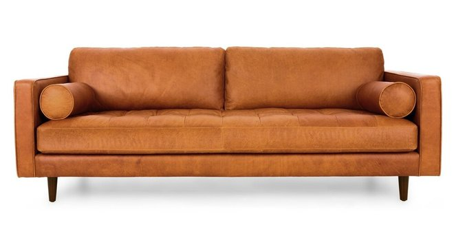 Sven Mid-Century Modern Tufted Leather Sofa Tan in NY : Sofas | CasaOne