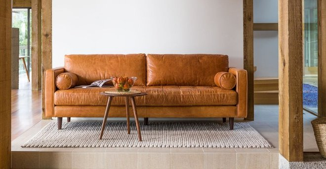Rent Sven Mid Century Modern Tufted Leather Sofa Tan