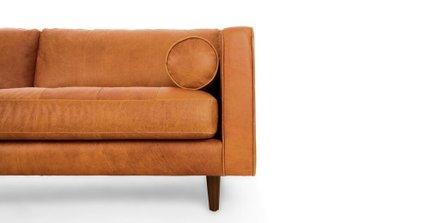 Sven Mid-Century Modern Tufted Leather Sofa Tan