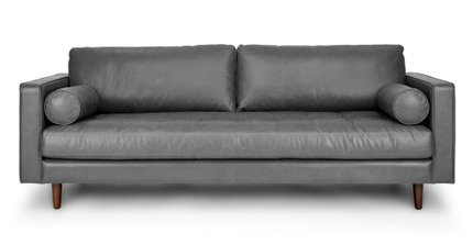 Sven Mid-Century Modern Tufted Leather Sofa Gray