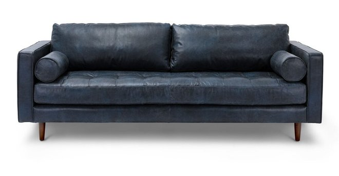Sven Mid-Century Modern Tufted Leather Sofa Oxford Blue