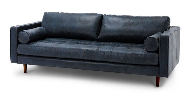Sven Mid-Century Modern Tufted Leather Sofa Chocolat Blue