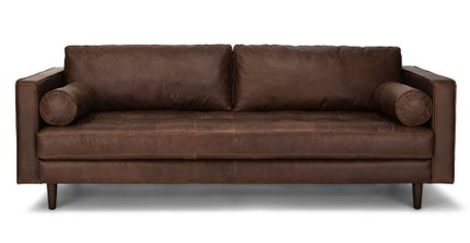 Sven Mid-Century Modern Tufted Leather Sofa Chocolat