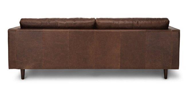 Sven Mid-Century Modern Tufted Leather Sofa Chocolat