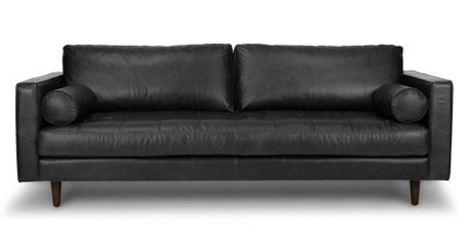 Sven Mid-Century Modern Tufted Leather Sofa Chocolat Black