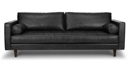 Sven Mid-Century Modern Tufted Leather Sofa Chocolat Black