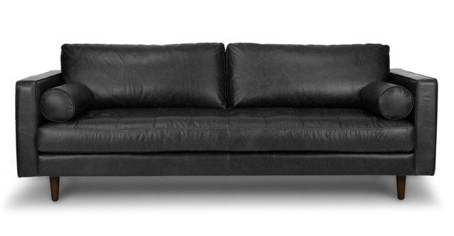 Sven Mid-Century Modern Tufted Leather Sofa Oxford Black