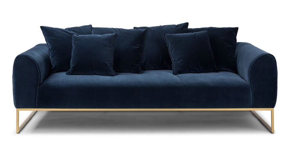 Terrific Kits Mid Century Modern Sofa Cascadia Blue And Brass In La Gamerscity Chair Design For Home Gamerscityorg