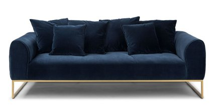 Kits Mid-Century Modern Sofa Cascadia Blue And Brass