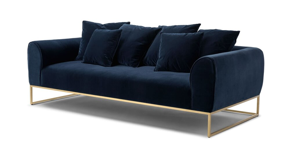 Fine Kits Mid Century Modern Sofa Cascadia Blue And Brass In La Gamerscity Chair Design For Home Gamerscityorg