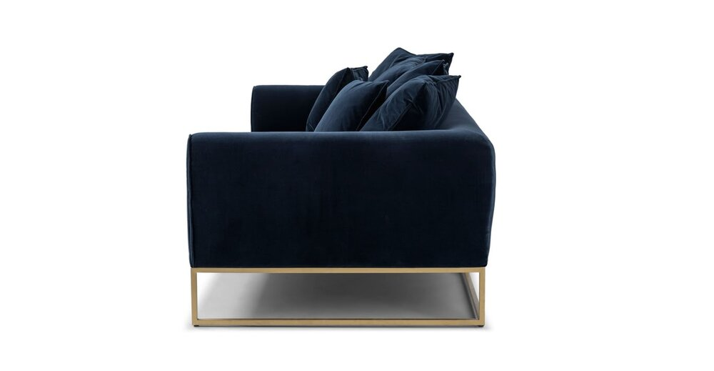 Awesome Kits Mid Century Modern Sofa Cascadia Blue And Brass In La Gamerscity Chair Design For Home Gamerscityorg