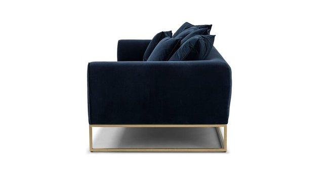 Kits Mid-Century Modern Sofa Cascadia Blue And Brass