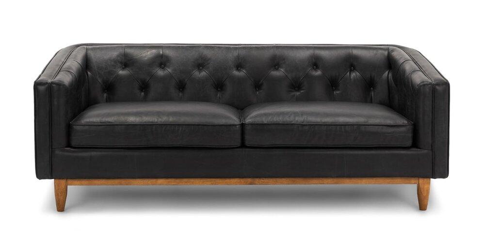 Alcott Modern Leather Sofa Black