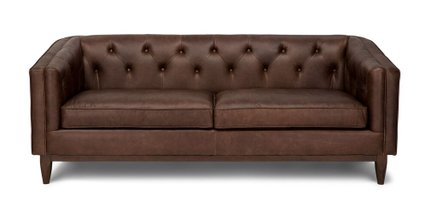 Alcott Modern Leather Sofa Chocolat