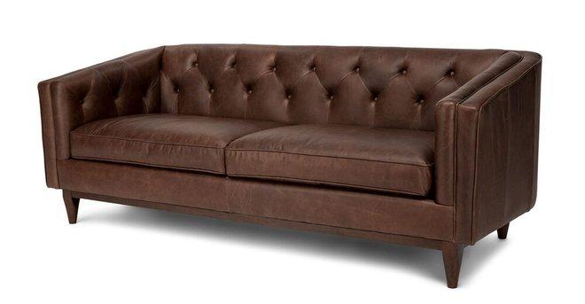 Alcott Modern Leather Sofa Chocolat