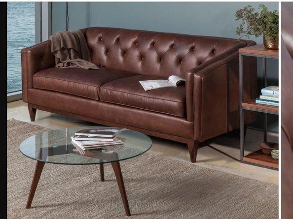 Article Alcott Modern Leather Sofa Chocolat