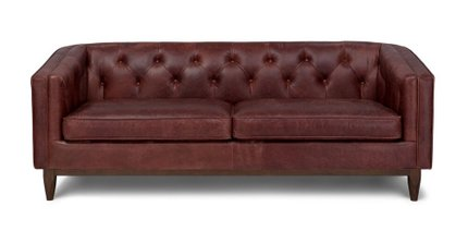 Alcott Modern Leather Sofa Oxblood