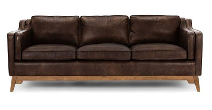 Worthington Mid-Century Modern Sofa Brown And Honey Oak