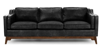 Worthington Mid-Century Modern Sofa Black And Walnut