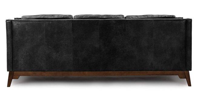 Worthington Mid-Century Modern Sofa Black And Walnut