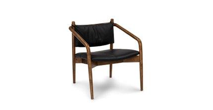 Lento Mid Century Modern Lounge Chair Black & Walnut