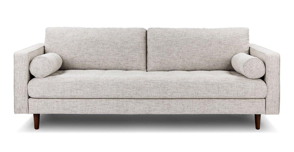 Terrific Sven Soma Mid Century Modern Tufted Fabric Sofa Ivory Short Links Chair Design For Home Short Linksinfo
