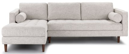 Article Sven Mid-Century Modern Tufted Left Sectional Sofa Ivory