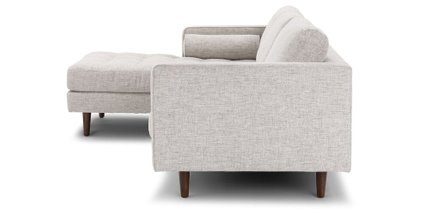 Sven Mid-Century Modern Tufted Fabric Left Sectional Chaise Ivory