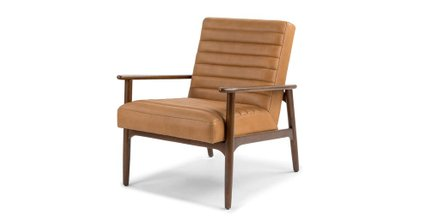 Thetis Mid-Century Modern Leather Chair Charme Tan