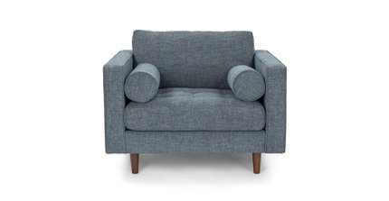 Sven Tufted Fabric Chair Aqua Tweed