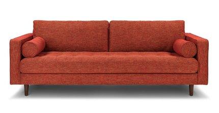 Sven Mid-Century Modern Tufted Fabric Sofa Orange