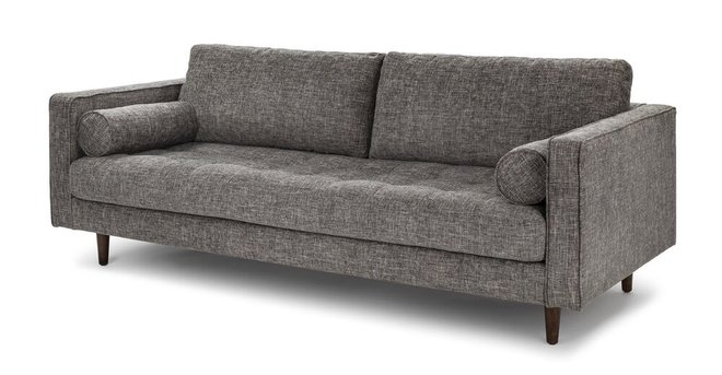 Sven Mid-Century Modern Tufted Fabric Sofa Gray