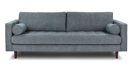 Article Sven Mid-Century Modern Tufted Fabric Sofa Aqua Tweed