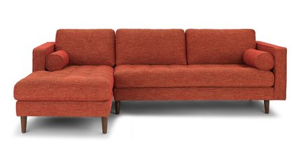 Sven Mid-Century Modern  Tufted Fabric Left Sectional Chaise Orange