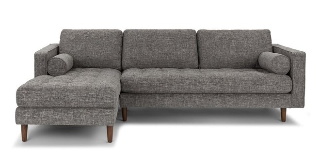 Sven Mid-Century Modern Tufted Fabric Left Sectional Chaise Gray
