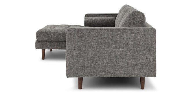 Article Sven Mid-Century Modern Tufted Left Sectional Sofa Gray