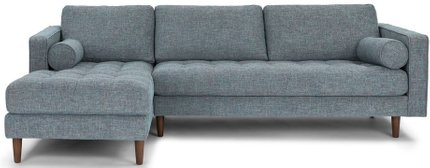 Article Sven Mid-Century Modern Tufted Left Sectional Sofa Aqua