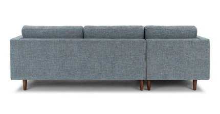 Sven Mid-Century Modern Tufted Fabric Left Sectional Chaise Tweed