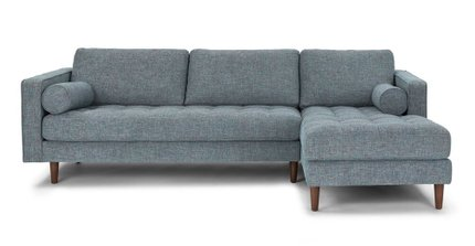 Sven Right Sectional Sofa Aqua Tweed