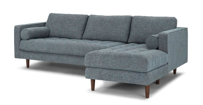 Amazing Sven Right Sectional Sofa Aqua Tweed Pabps2019 Chair Design Images Pabps2019Com