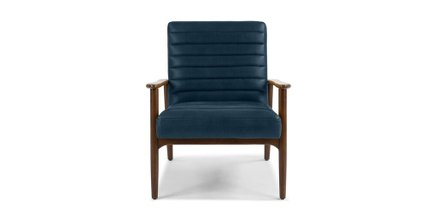 Thetis Mid-Century Modern Leather Chair Charme Indigo