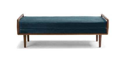 Article Ansa Mid-Century Modern Bench Pacific Blue