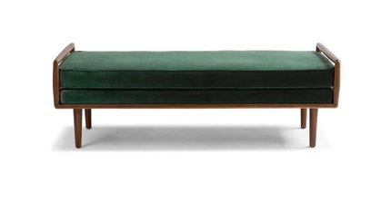 Ansa Mid-Century Modern Bench Balsam Green